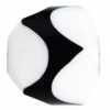 "Resin Bead Fancy Facet 18x12mm 8"" Str ( approx.13pcs.) White/Black"